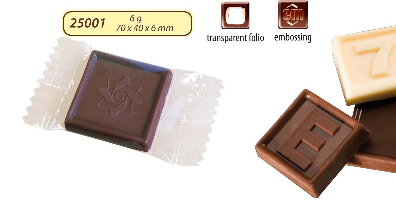 Čokoláda 6g s logem v čokoládě