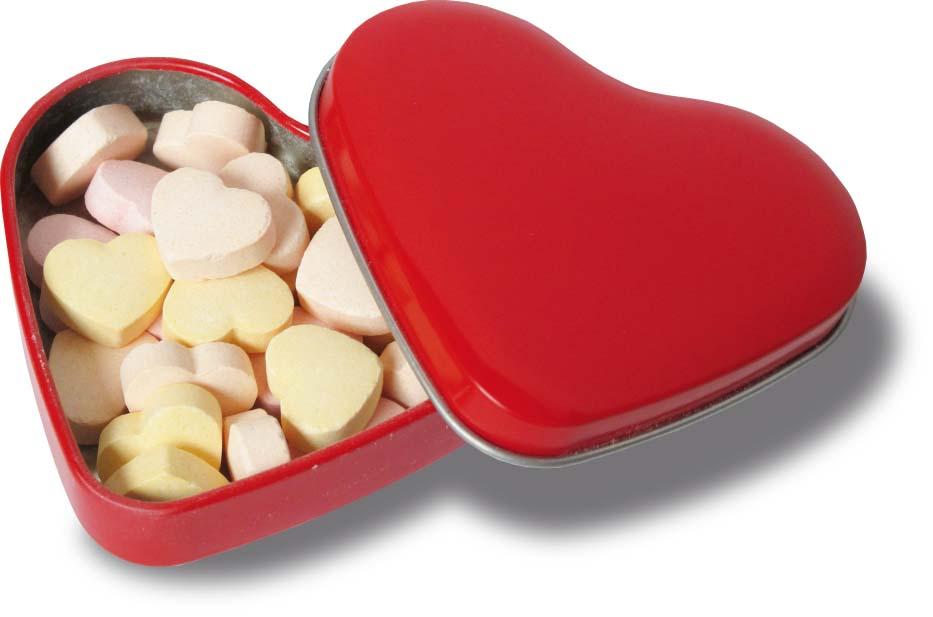 Kovové srdce - bílé, červené